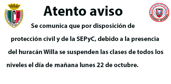 Suspensión de clases lunes 22 de octubre, 2018